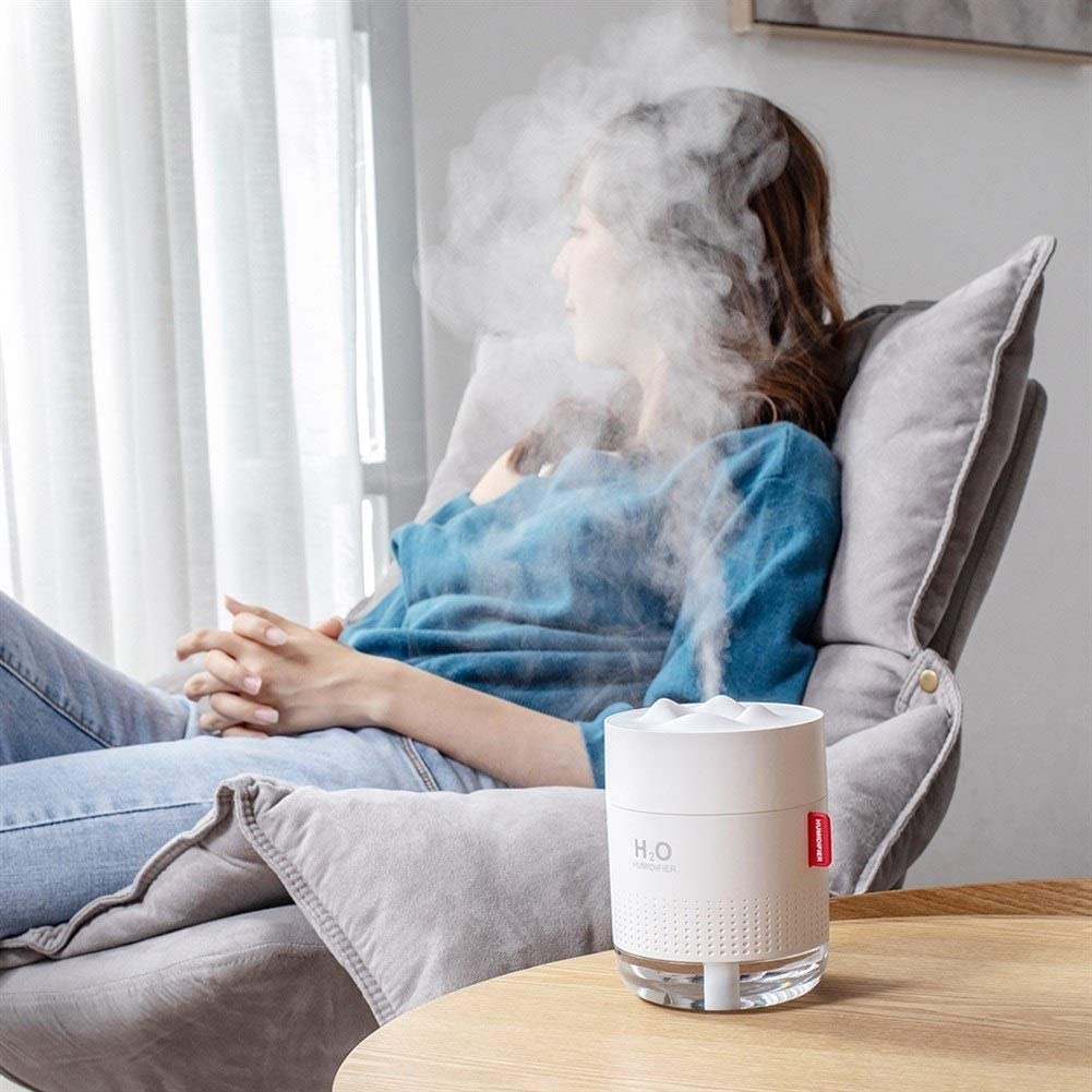 MISDD Portable Ultrasonic Humidifier 500ML Snow Mountain H2O USB Aroma Air Diffuser With Romantic Night Lamp (Color : White and 10 filters) Grey and 10 Filters