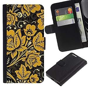 APlus Cases // Apple Iphone 6 PLUS 5.5 // Amarillo mostaza Negro Papel de pared vintage // Cuero PU Delgado caso Billetera cubierta Shell Armor Funda Case Cover Wallet Credit Card