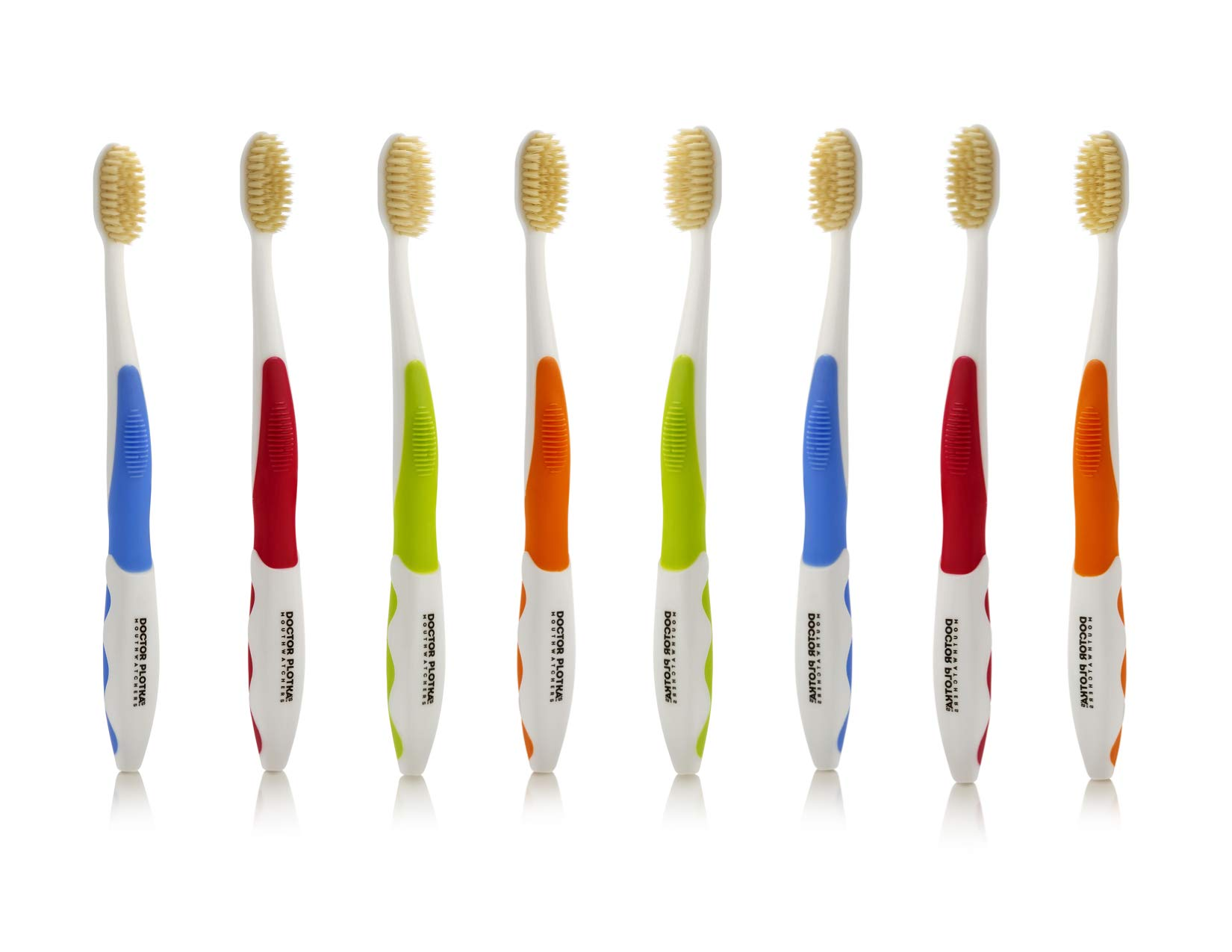 Doctor Plotka's Mouthwatchers Antimicrobial Floss Bristle Silver Toothbrush, Adult, 8 Pack
