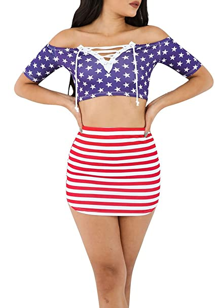 c5c6c1cda9 Image Unavailable. Image not available for. Color: BBalizko Womens American  Flag Print Off Shoulder Crop Tops ...