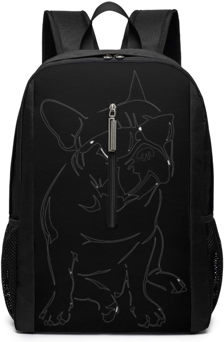 ~ Ash Frenchie French Bulldog Backpack, Business Durable Laptop Backpack, Water Resistant College School Computer Bag Gifts for Men Women, 17in X 12in X 6in, Black