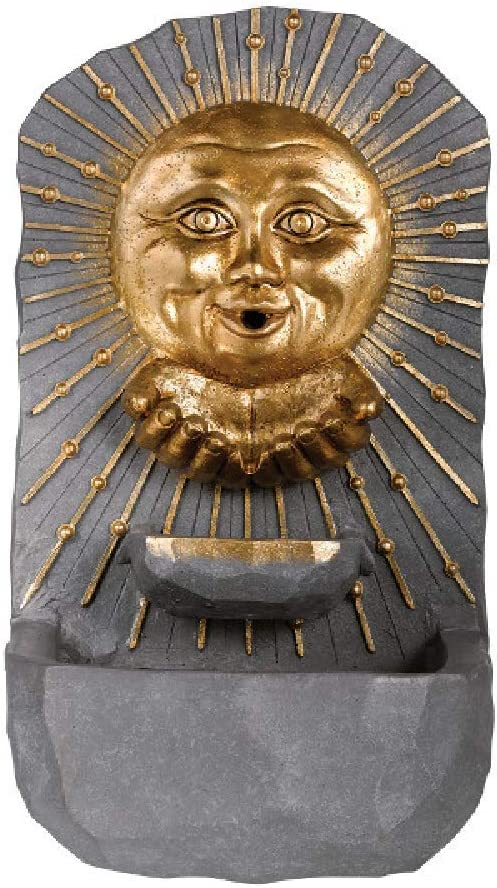 Grasslands Road Sun Face Fountain - Garden Fountain - Garden Fountains Outdoor - Fountain Garden, Pump Included, On and Off Switch, Resin and Metal, 17 by 10 by 7 Inches