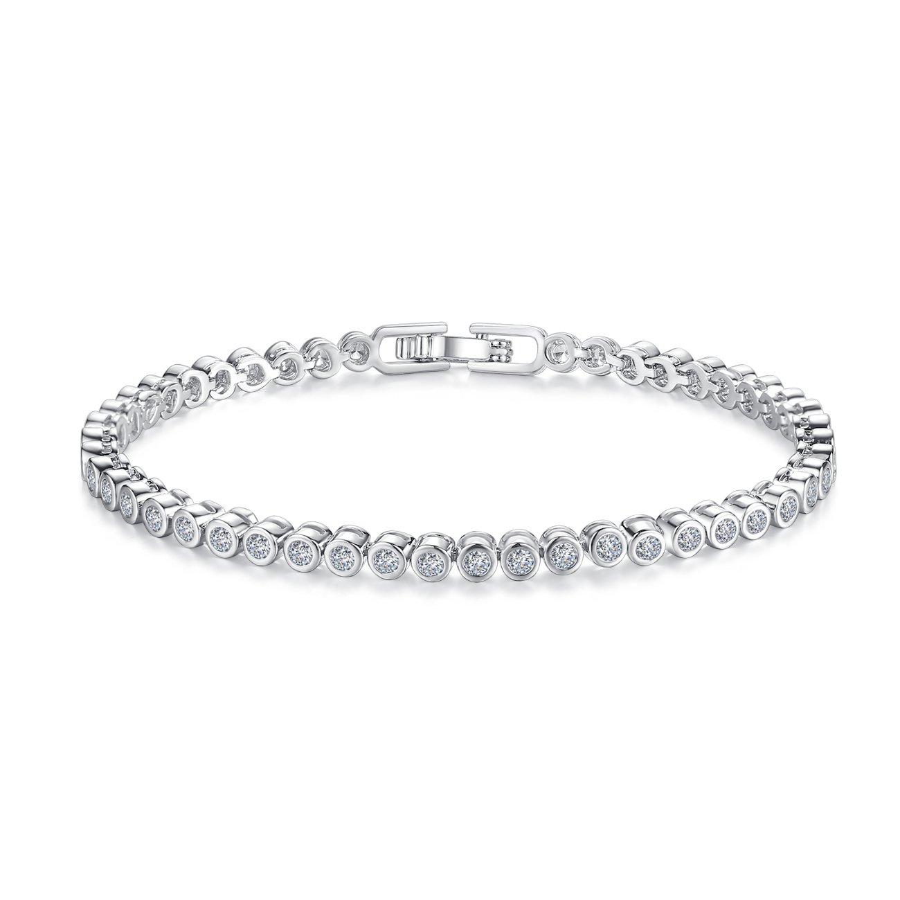CZ Tennis Bracelets For Women - 18K Rhodium Plated Round Cut Women Jewelry, (6.7 in)