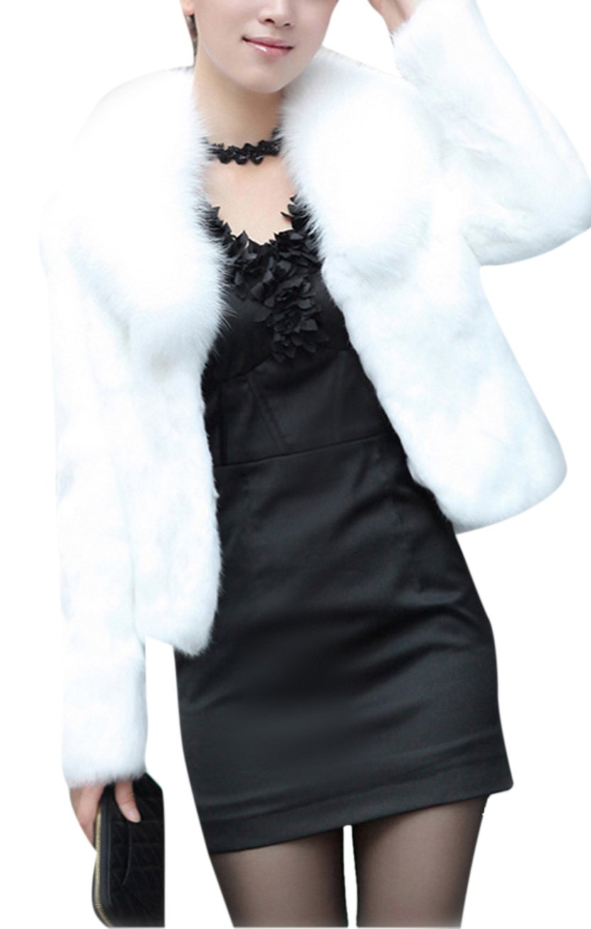 GESELLIE Women's White Fashion Faux Fox Fur Long Sleeve Thick Overcoat Slim Short Coat 3XL