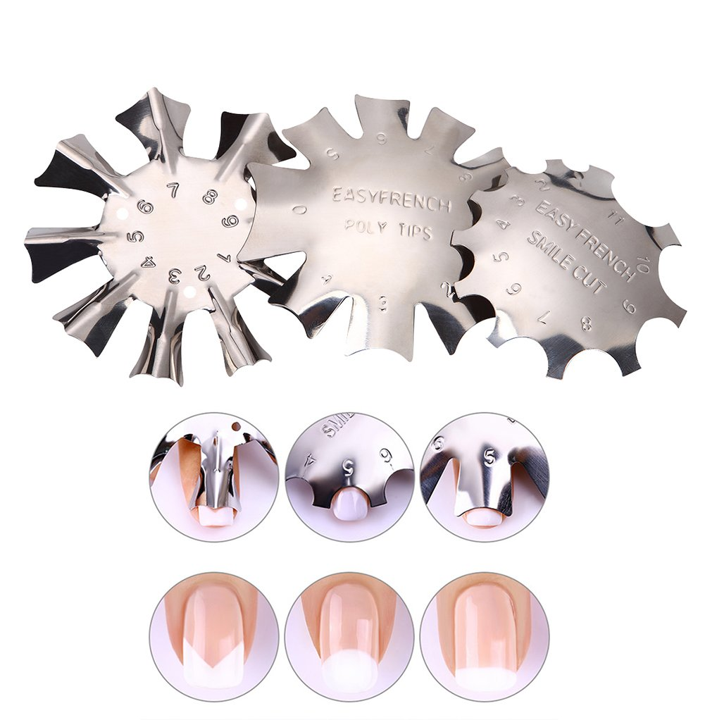 WOKOTO 3pcs Easy French Smile Line Gel Cutter Tool Staniless Steel C-Shape Manicure Edge Trimmer Diy Plate Module (3 Patterns) : Beauty