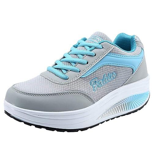 Culater Zapatillas Mujer Moda Malla Zapatos de Aumento de Fondo Suave de Balanceo de Deporte: Amazon.es: Zapatos y complementos