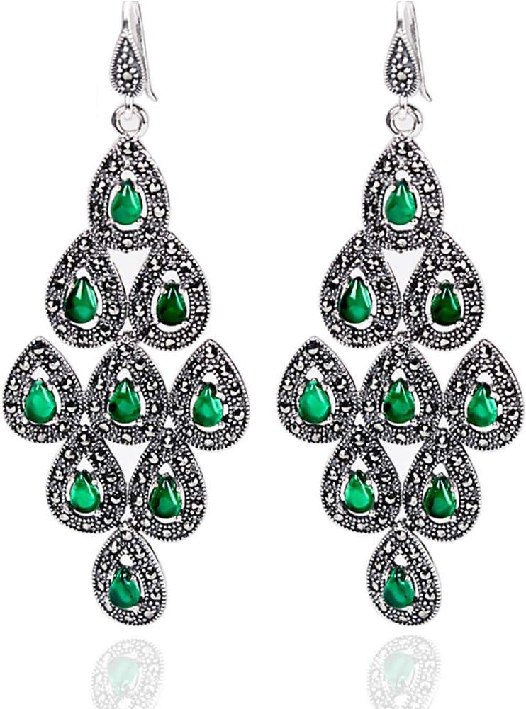 JZWX Pendientes de Cola de Pavo Real de Granate exagerado Pendientes de Piedras Preciosas de ágata Verde Joyería Larga de Plata para Mujer
