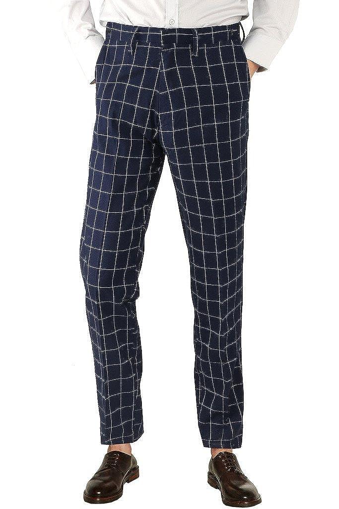 Hanayome Men's Photography Grid British Leisure Blue Suit Pants - Adjustable Waist PDH4-K-A1