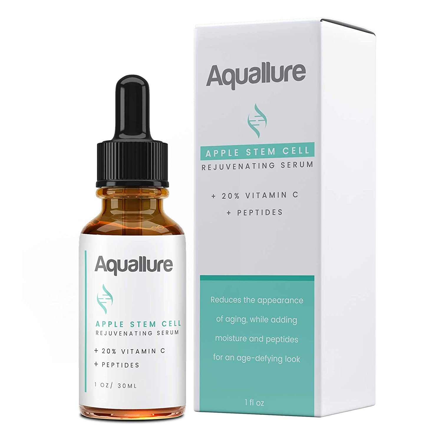 NEW! Aquallure Apple Stem Cell Rejuvenating Serum - Moisturizing Facial Treatment with Vitamin C 20%, Peptides, Hyaluronic Acid - Reduce Appearance of Fine Lines, Improve Skin Texture - 1 fl oz
