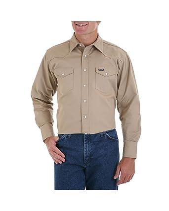 0f07e06dba Wrangler Authentic Cowboy Cut Solid Twill Western Long Sleeve Shirt (Khaki  XL-T)