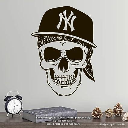 Amazon Com Cool Skull Wall Decals Skull Bandana Cap Stickers
