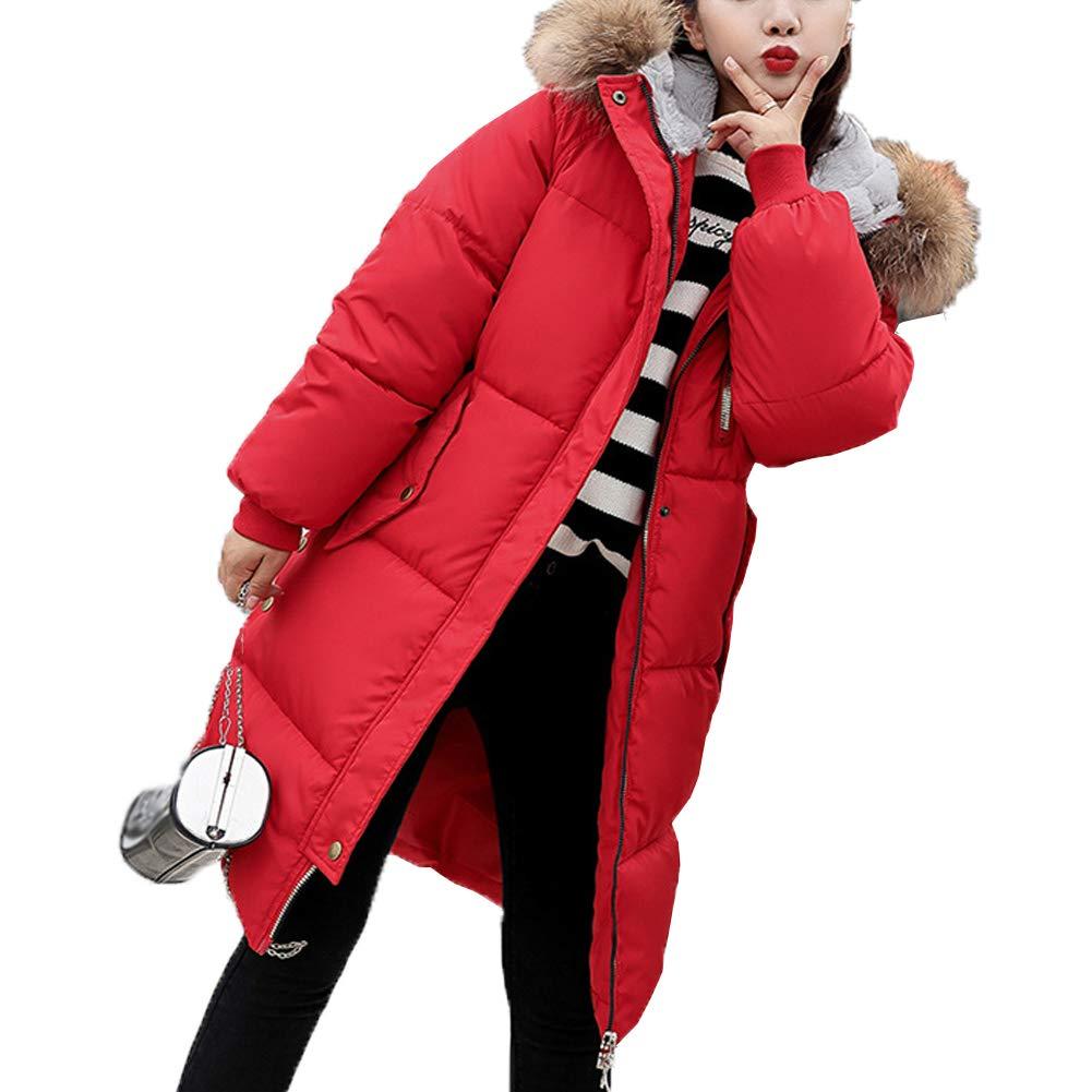 Karl Aiken Women's Long Down Coat Faux Fur Hood Winter Coat Down Jackets
