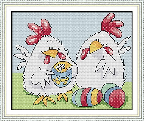 Happy Forever Cross Stitch Cartoon Animal, easter egg chicke
