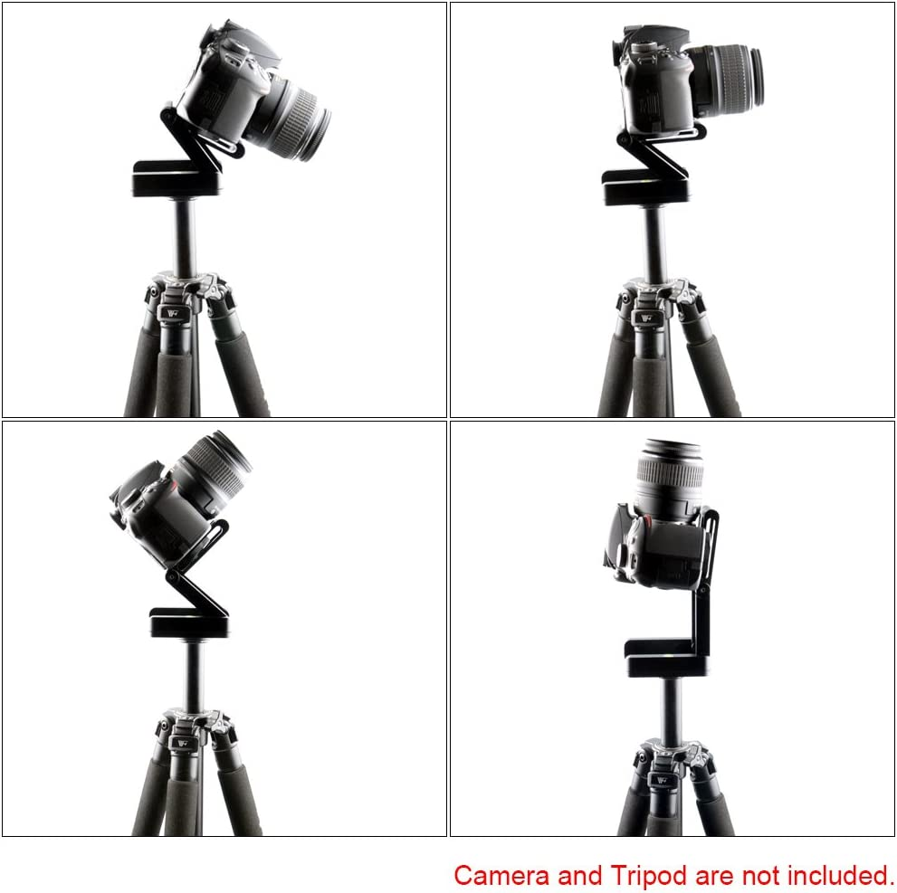 Andoer Z Flex Tilt Ball Head with Quick Shoe QR Plate Bracket,Aluminum Folding Z Shape Tripod Head Rail Camera Stabilizer with Spirit Level for Canon Nikon Sony Camcorder Tripod Guide Slide