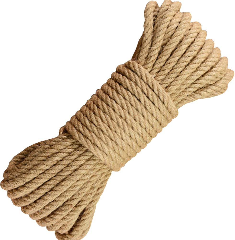 BOELLRUNO 25M 10MM Cuerda de Yute Cuerda C/á/ñamo Natural Gruesa Cuerda de Sisal 4 Capas para Jard/ín Boda Sash Camping Mascotas Barcos Hogar Animales Escalada /Árbol de Gato