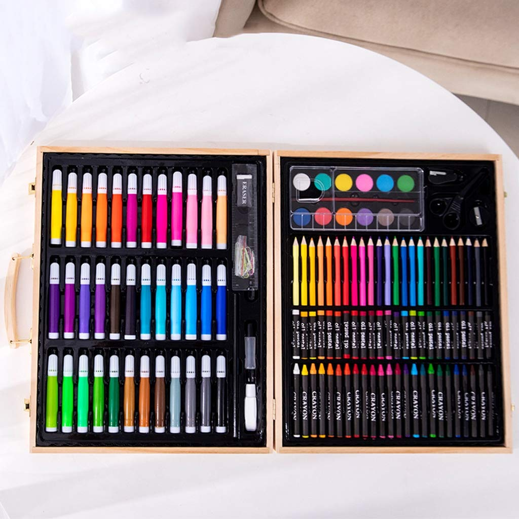 Zywtrade 150 Pieces Wooden Box Painting Gift Watercolor Pen Crayon Oil Pastel Paintbrush Set Children Art Painting Tools by Zywtrade (Image #2)