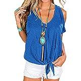 Ladmous 2021 Women's T Shirt Cold Shoulder Tops Casual V Neck Short Sleeve Tshirt Twist Knot Tunics