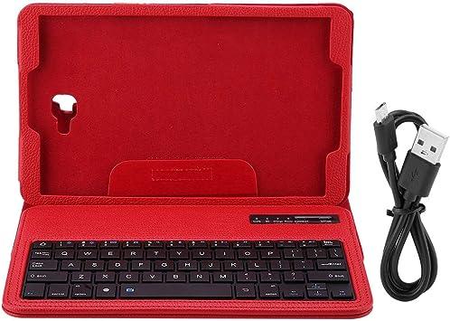 Zerone Funda con Teclado para Samsung Tab A 10.1 T580, 3 en 1 PU Funda Protectora con Teclado Bluetooth inalámbrico(Rojo)