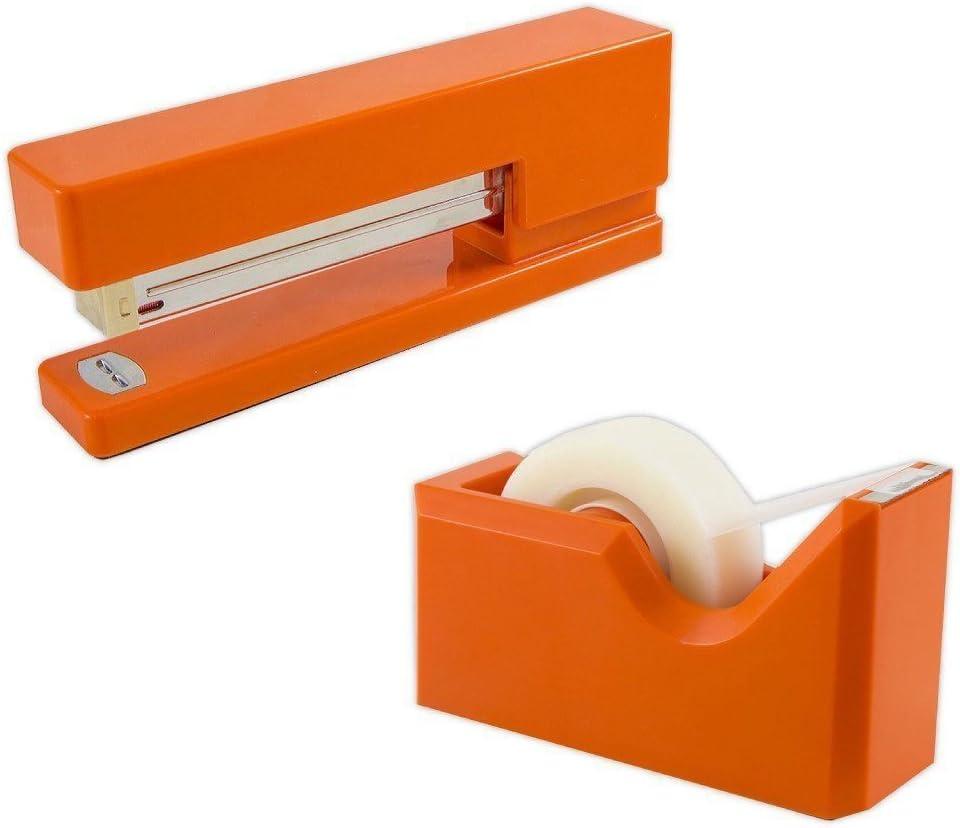 JAM PAPER Office & Desk Sets - 1 Stapler & 1 Tape Dispenser - Orange - 2/Pack