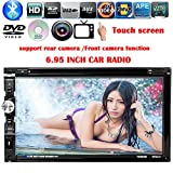 Eaglerich Universal Touch Screen 2 DIN 6.95 inches Car DVD Player Radio USB SD Bluetooth TFT Support Rear View Camera Input