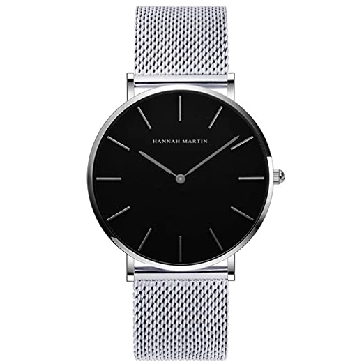Hombres Relojes, Allskid Estilo Minimalista Negro Marcar Acero Inoxidable Malla Correa de Reloj Moda Casual