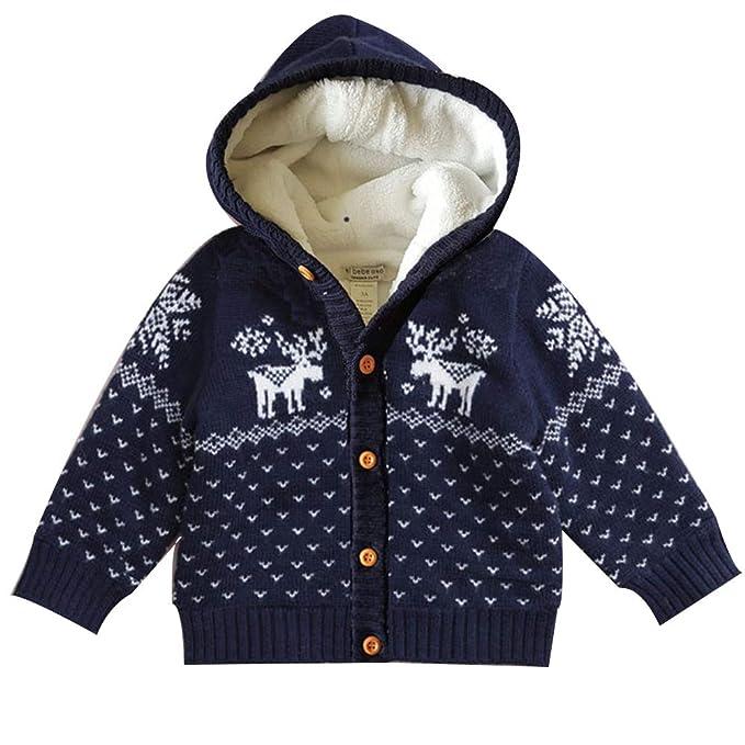 LPATTERN Suéter Abrigo Acolchado de Terciopelo Invierno para Bebe Niños Cárdigan de Algodón con Capucha para Navidad: Amazon.es: Ropa y accesorios