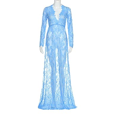 46019fa3aef Minisoya Maternity Photography Props Maternity Gown Fancy Shooting Photo  Pregnant Women Lace Evening Maxi Dress (