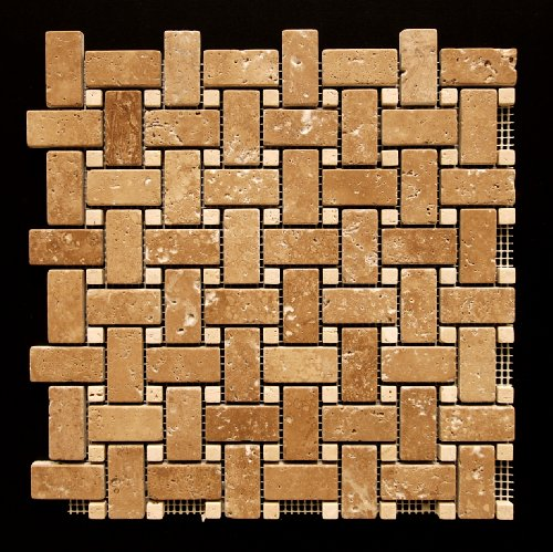 Noce-Light Travertine Tumbled Basketweave Mosaic Tile