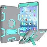 Coque Anti-choc pour Apple iPad Mini 1/2/3 - Aohro Housse de Protection Antichoc Étui en Plastique de Silicone Hybrid Case Cover avec Support,Gris + Vert