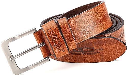 Cinturón de cuero / PU con costuras decorativas y en relieve, unisex, ancho: 3,8 cm