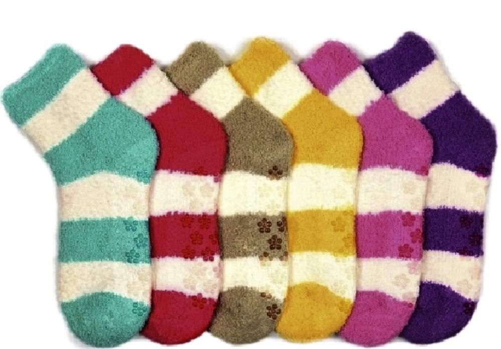 I&S 6 Pairs Women's Cozy Slipper Socks Fuzzy Sock Multi Color (9-11, Stripe White)