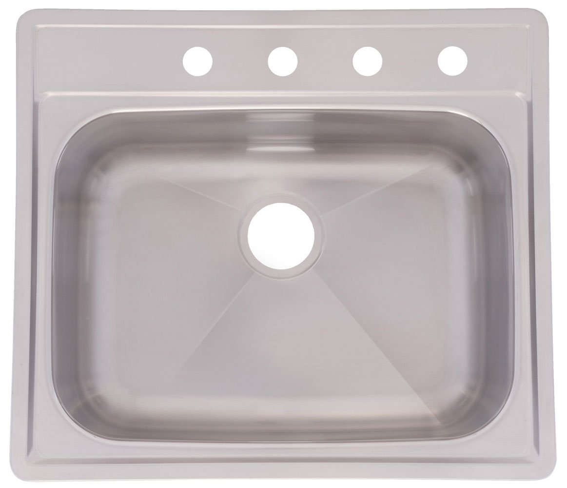 Franke SSKD104NB 4-Hole Single-Bowl Top Mount Kitchen Sink, Stainless Steel