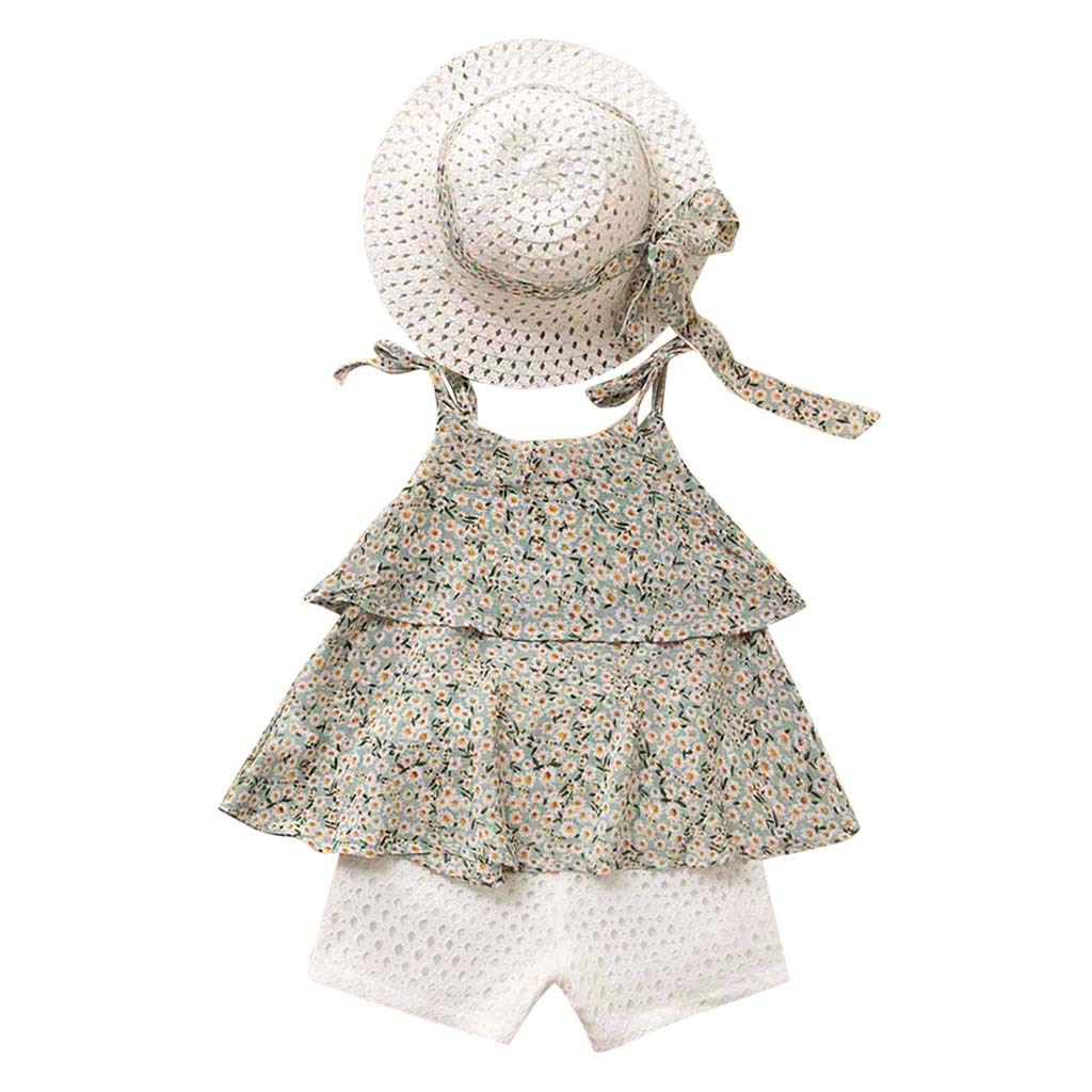 Hot!! Baby Girls Fashion Clothes Set GoodLock Toddler Kids Chiffon Floral Vest+Shorts Pants+Hat Outfits 3Pcs (Green, 5-6 Years)