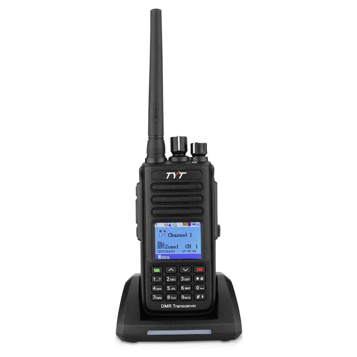TYTMD-390 DMR Digital Two Way Radio UHF 400-480MHz 5W Walkie Talkie Transceiver With GPS IP67 Waterproof & Dustproof Up to 1000CH Programming Cable with 2 Antenna by TYT