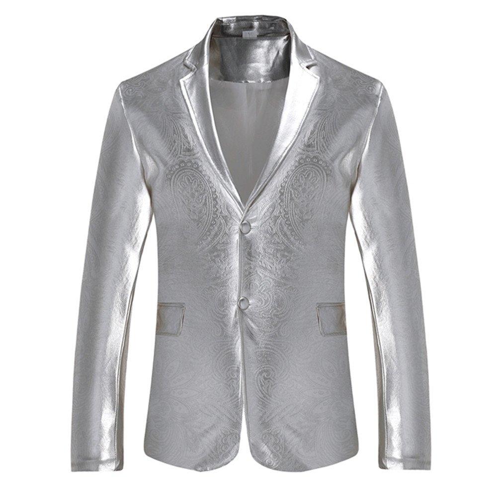 dewnkks Mens Blazers Fit Blazer Hombre Single Breasted Party Wedding Suit Jacket Sliver XXL