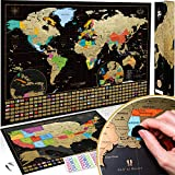 Scratch Off Map of the World + USA Map - Set of Two