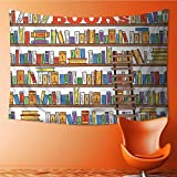 SeptSonne Decor Tapestry Wall Hanging by Library Bookshelf with A Ladder School Education Campus Life Caricature Home Decoration Wall Tapestry Hanging 60W x 40L Inch