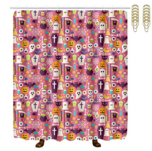 NiYoung Decorative Water Repellant Shower Curtain Waterproof Bathroom Curtain with 12 Hooks (Happy Halloween Party Patterns)