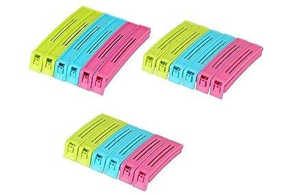 Okayji Plastic 18 Pieces Food Snack Bag Pouch Clip Sealer, 5.5inch, Multicolour