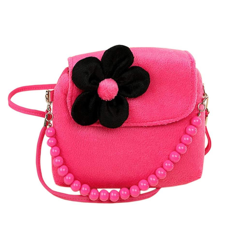 Ruikey Artificial Velvet Portable Crossbody Bag Children Messenger Coin Purse Hand Bag Cute Princess Bag for Baby Kids Girls