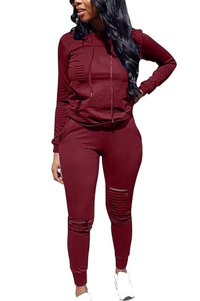 Mujer 2 Unidades Conjunto Casual Suéter Sudaderas con Capucha Sudadera Pantalones Conjuntos Winered XL: Amazon.es: Ropa y accesorios