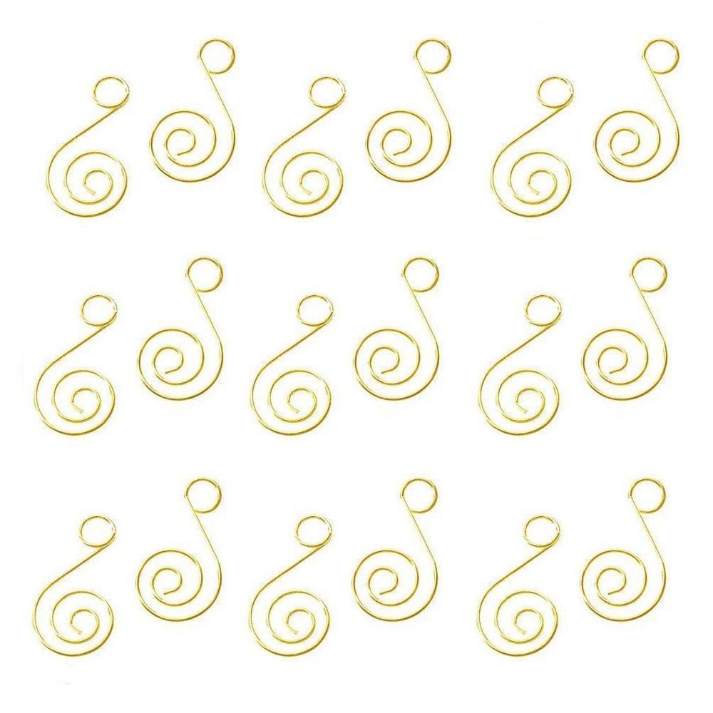 HOHIYA Ornament Hooks Hangers Artificial Tree Christmas Xmas Ball Bauble Dog Cat Photo Glass Personalized Home Party Diy Art Craft Birthday Decoration 1.25inch(Gold, pack of 100)
