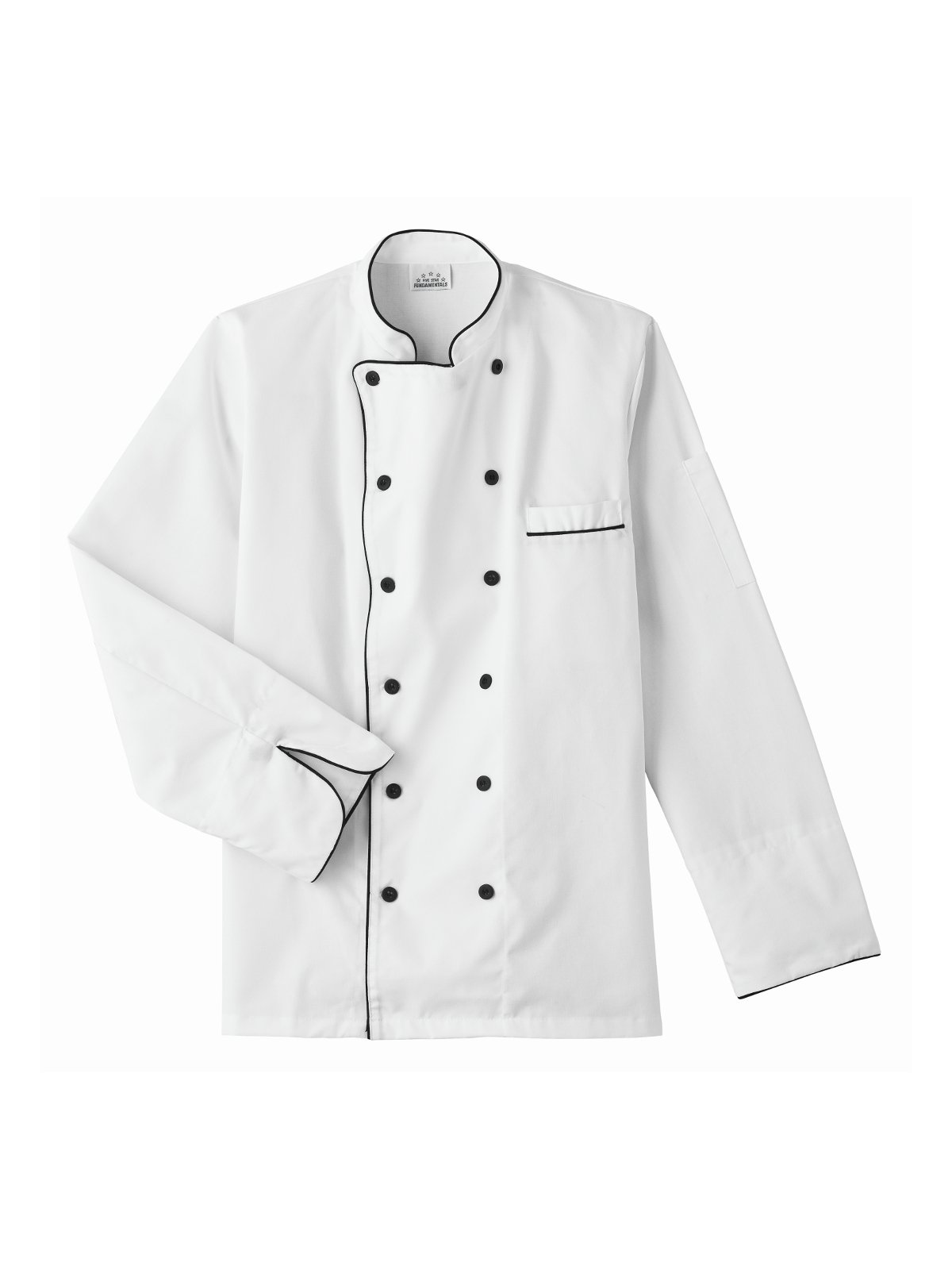 Five Star Chef Apparel Executive Jacket with Black Trim (White, Small)