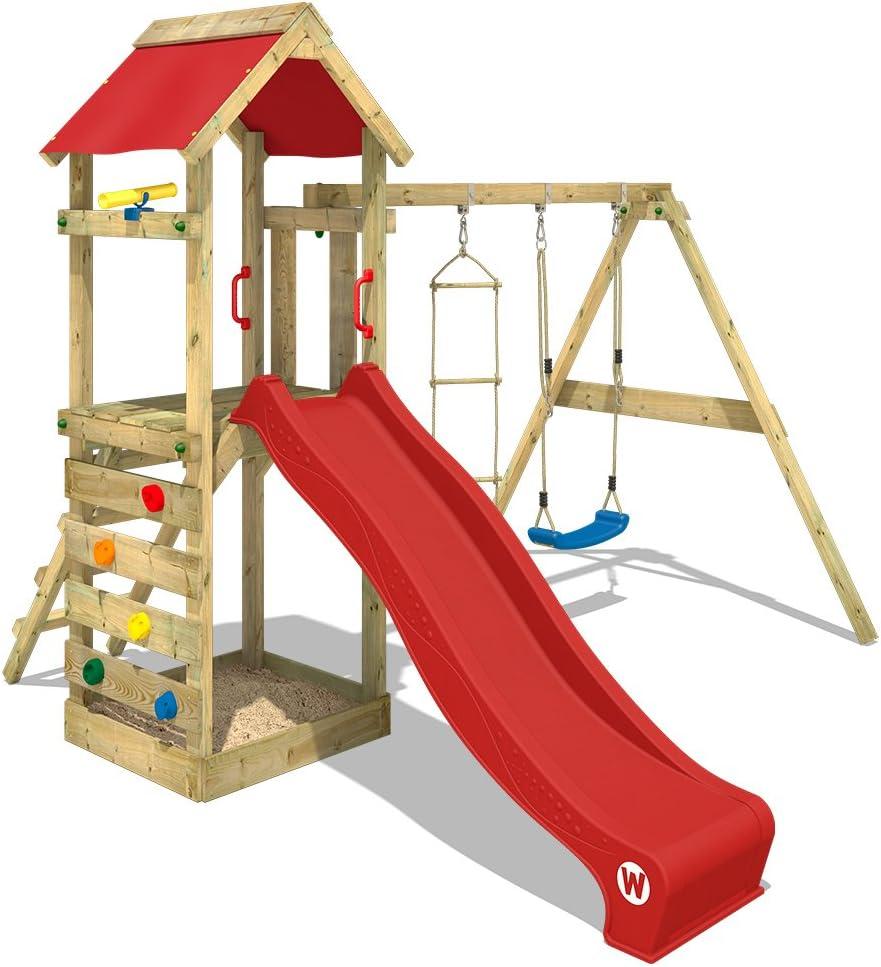 WICKEY Parque infantil de madera FreeFlyer con columpio y tobogán rojo, Torre de escalada da exterior con arenero y escalera para niños