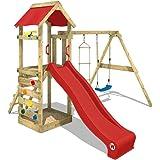 WICKEY Parco giochi da giardino FreeFlyer con altalena, sabbiera + scivolo rosso Torre da gioco