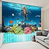 Sproud Underwater Mermaid Printed 3D Blackout Window Curtains Drapes For Girls Bedding Room Living Room Hotel Cortinas-260Cmx240Cm