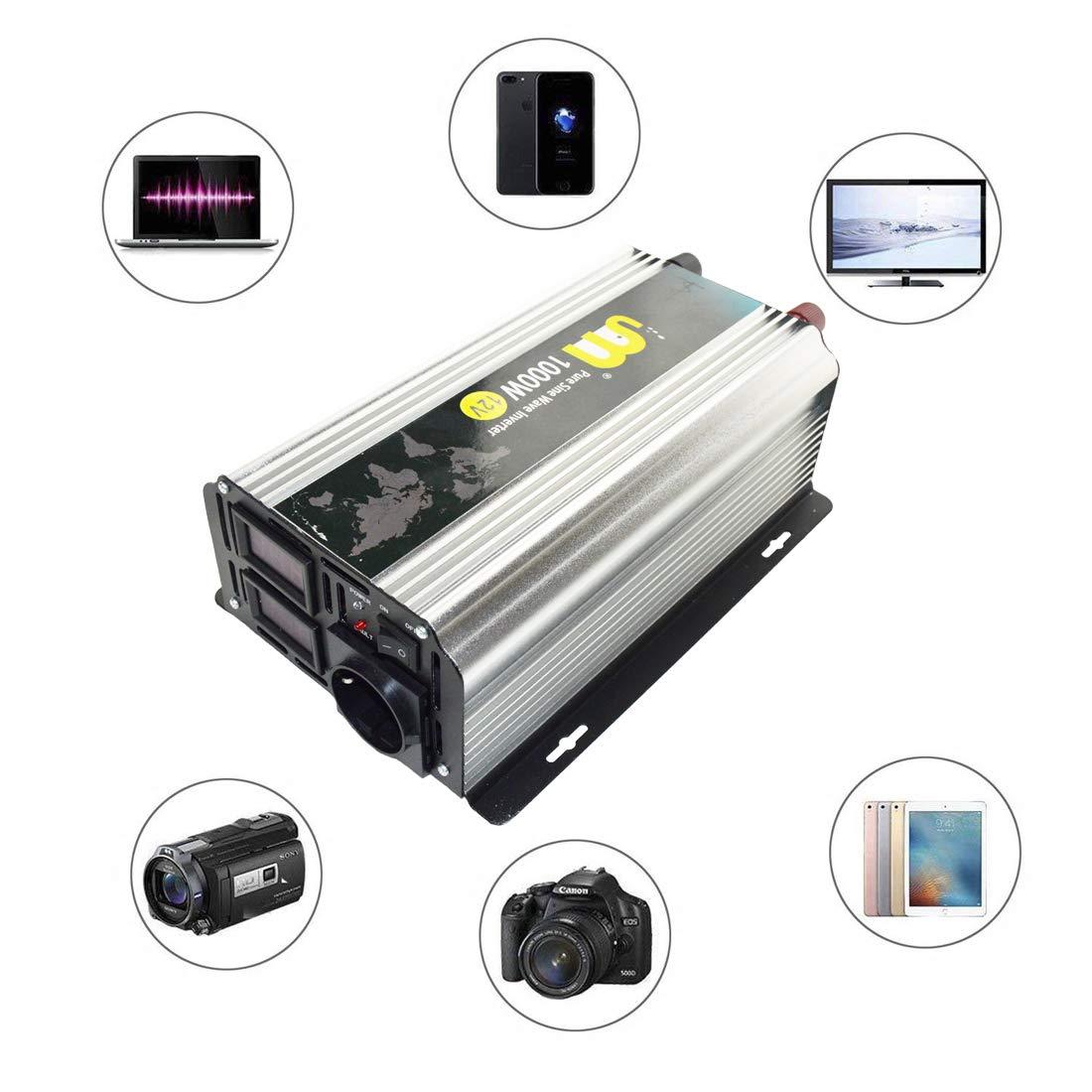 Silber, 1000W Reiner Sinus Wechselrichter 12V auf 230V Solar Spannungswandler Konverter mit USB Anschl/üsse F/ür Zuhause KFZ Draussen CIDEARY 1000W Reiner Sinus Wechselrichter