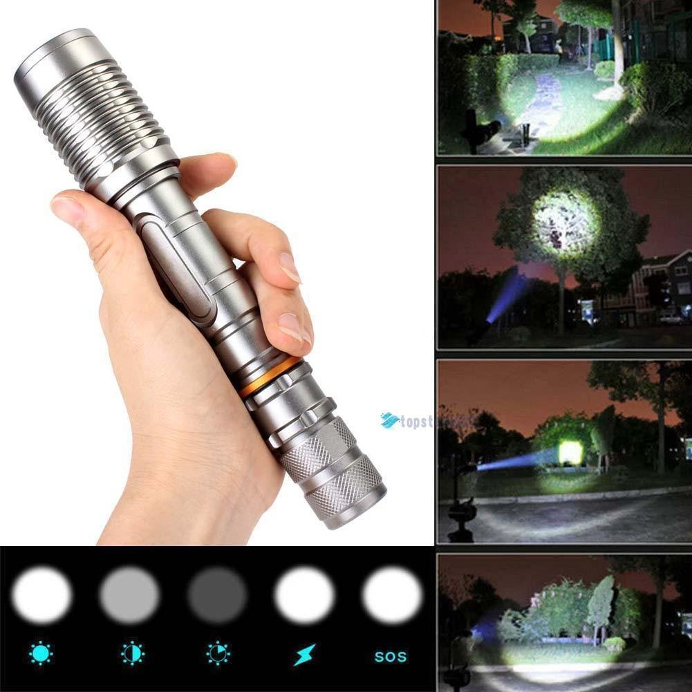Super bright 3000LM CREE XML-T6 LED Zoom Flashlight Tactical Torch Bike Focus Lamp Light silver