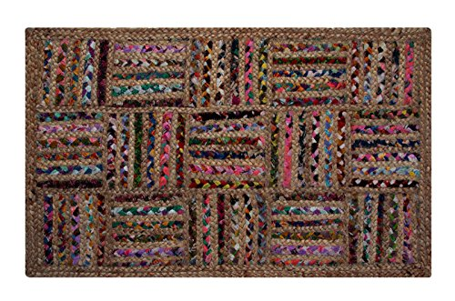 Better-Trends-Chris-Cross-Dyed-Chindi-Fabric-Braided-Area-Rug-3-by-5-Feet-Natural-Hemp