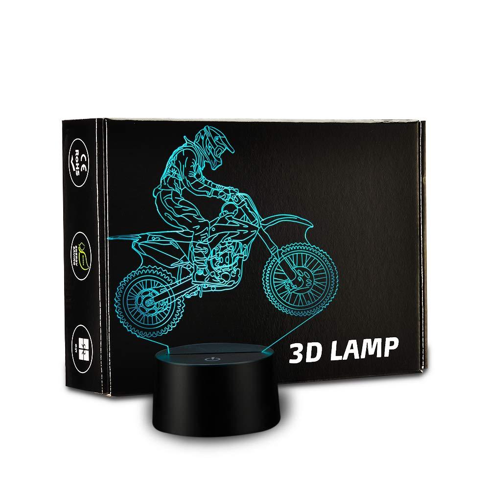 3D Lamp Dirt Motocross Bike Lights LED Night Lights Off-Road Race Lights Table Lamps Bedroom Living Room Lights Seven-Color Symphony Lights USB Interface Birthday Gifts Prize Lights by Rongyu